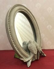RAZ Imports Gray Oval Mirror Birds Reflection Stands Up Desk Home Decor