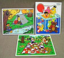 3 Vtg. Playskool Wood Puzzles - 2 Sesame Street Bert & Ernie & 1 Disney Mickey