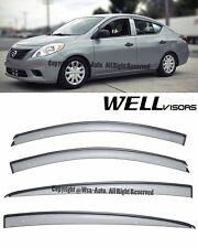 WellVisors Clip On Side Window Visors W/ Black Trim For 12-15 Nissan Versa Sedan