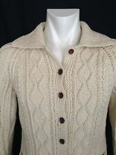 Unisex Aran Fisherman's Sweater. Hand Knit Wool. Button Front Cardigan. Size M