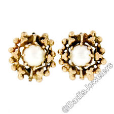 Vintage 14K Yellow Gold 5.15mm Prong Pearl Stud Earrings w/ Round Freeform Frame
