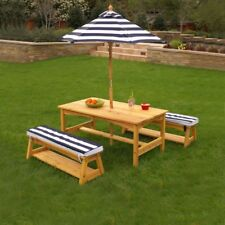 Kidkraft Outdoor Table and Bench Set and Umbrella (Navy-00106)