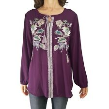 CHICOS XL 3 Floral Embroidered Tassel Top Tunic Peasant Boho Blouse Pullover