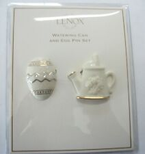 Signed Lenox Watering Can & Egg / Pin Set / Fine Ivory China / 14K Gold Trim
