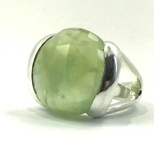 COLLECTION GENUINE NATURAL HUGE PREHNITE 38.5CT RING SOLID 925 STERLING SILVER