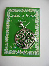 Sterling Silver Celtic Irish Medium Circle Knot Pendant New