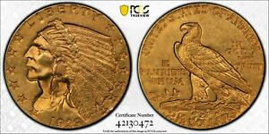 1929 $2.50 Gold Indian PCGS MS61 Original Great Eye Appeal