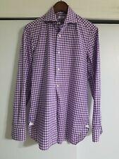 Pre-owned Barba Napoli Shirt Purple Gingham Checks Sz 15 38