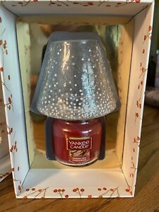 YANKEE CANDLE Gift Set CHRISTMAS Cinnamon Sparkle SHADE Crackle glass RARE