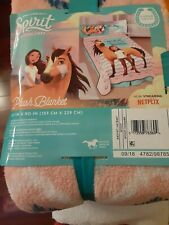 "Dreamworks Spirit Riding Free Plush Bed Blanket 62"" x 90"" (Twin Size)"