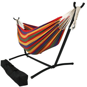 Sunnydaze Brazilian 2 Person Double Hammock with Stand - Tropical