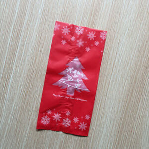 10pcs Christmas Tree Plastic Small Gift Bags Candy Dessert Bag Xmas Party Favor