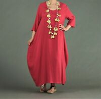 ♦ AKH Fashion weites Ballon-Kleid Gr. 40,42,44,46  rot, Leinen/Viskose ♦