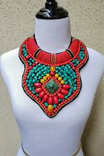 TIBETAN Beaded Bib Necklace with turquoise coral, boho, gypsy, tribal, ethnic