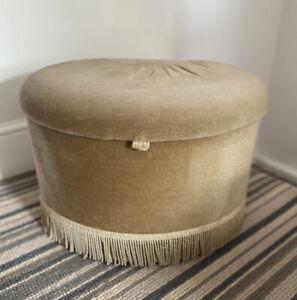 Vintage Sherborne Bradford pouffe stool ottoman beige tassels Retro Velvet