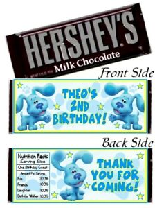 12 Blue's Clues Birthday Party Baby Shower Hershey Candy Bar Wrappers