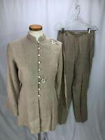Armand Ventilo Women's Brown Linen Top and Pant Set Top 44 Pant 40