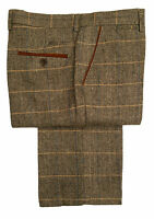 MENS MARC DARCY TWEED CHECK FORMAL SMART TROUSERS DX7 - TAN