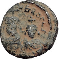 HERACLIUS and son CONSTANTINE Authentic Ancient Byzantine Alexandria Coin i65010