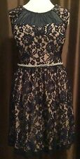 20W *Sexy Women's Plus Size Blue Lace Pearl & Bling Evening Cocktail Prom Dress