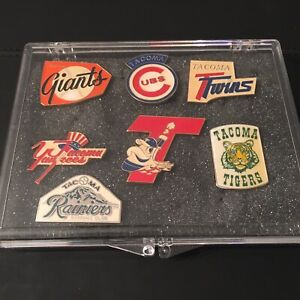 Tacoma Giants, Cubs, Twins, Yankees, Tugs, Tigers, Rainiers Pin Set