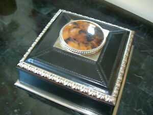 Maitland Smith Black Leather with Silver Plate and Pen Shell Accents Box