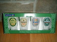 IRISH PUB 16 OZ PINT BEER GLASS GLASSES SET X 4 HARP GUINNESS KILKENNY SMITHWICK