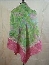 Vtg 70s Pretty Summer Triangle Cotton Polka Dotted Floral Lace Shawl Wrap Scarf