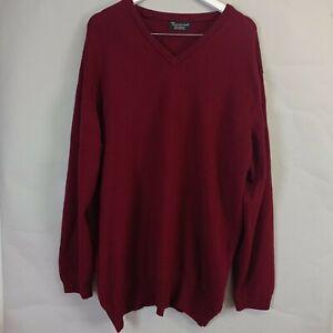 Hawick Knitwear Mens Jumper XXL Burgundy Red V-Neck Wool Knitted 2XL Scotland