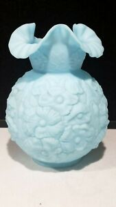 """RARE FENTON Poppy Pattern Gone With The Wind Lamp Shade 10"""" x 4"""" -Satin Blue"""