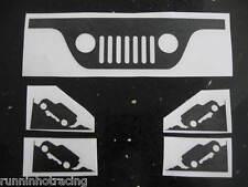 JEEP WRANGLER Windshield Corner and Grill Decals YJ JK TJ 2 & 4 Door (5 Stickers