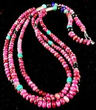 """Native American Sterling Silver Turquoise Sugilite Bead Necklace  28"""""""
