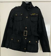 Barbour Wax Jacket International Women's Black Belted Union Jack UK Size 8