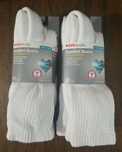 CVS Health Crew Length Unisex Comfort Socks for Diabetics White L/XL (4 Pairs)
