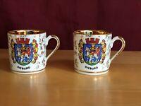 Vintage Hallerstein Bavaria Dieburg Germany 2 Demi Tea Cups Echt Gold - RARE
