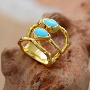 Lovely Gold Plated Natural Turquoise Gemstone Wrap Design Cocktail Ring Size N/7