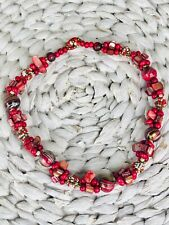 CHIC BOHO WOOD BEAD AND SHELL RED STATEMENT NECKLACE (Chilli ) - THE RED GECKO