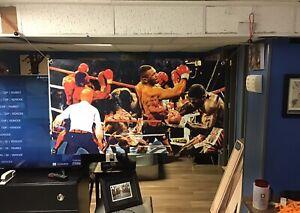 BIG 47x26 MIKE TYSON Vinyl Banner POSTER Joe Frazier art GGG Muhammad Ali  Rocky