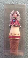 """NEW Resin Christmas Angel with Cork - Bottle Stopper 3.5"""" H red green yellow"""