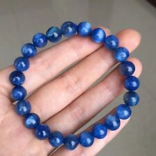 8mm Natural Blue Kyanite Crystal Cat Eye Beads Stretch Bracelet AAA