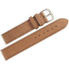 18mm Mens Fluco Tan Smooth Pigskin Leather German Made Watch Band Strap