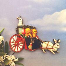 Vintage carriage BROOCH Chicks and bunny rabbit jewelery Wooden animal badge pin