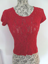 Fuego USA - RED LACE CREW NECK CAP SLEEVE T-SHIRT size SMALL-VISCOSE BLEND