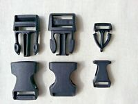 Black Side Quick Release Buckles Fasteners For Webbing Straps 10, 15mm Pack of 2