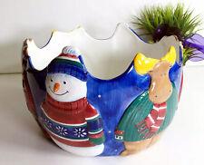 """St Nicholas Square Forest Winter Friends Snowman Large Serving Bowl 9""""  1999"""