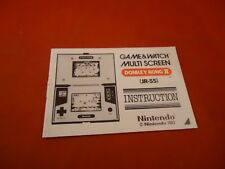 Game & Watch Donkey Kong II Jr-55 Nintendo Instruction Manual Booklet ONLY