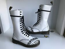 Dr. Martens 1C14 White/ Black Footprint Leather UK3 EU36 Mid Calf Women's Boots