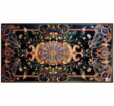 "60"" x 36"" Marble Dining / Center Table Top Pietra dura Inlay Handmade Work"