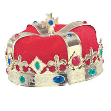 Gold Royal Crown With Gems King Queen Fancy Dress Costume Prop