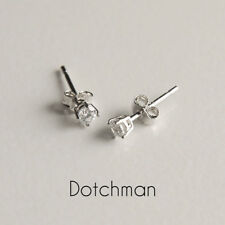 925 Sterling Silver Stud Earrings With Clear Cubic Zirconia 3MM